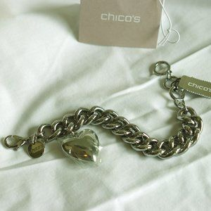 Chico's Silver Bracelet with heart charm
